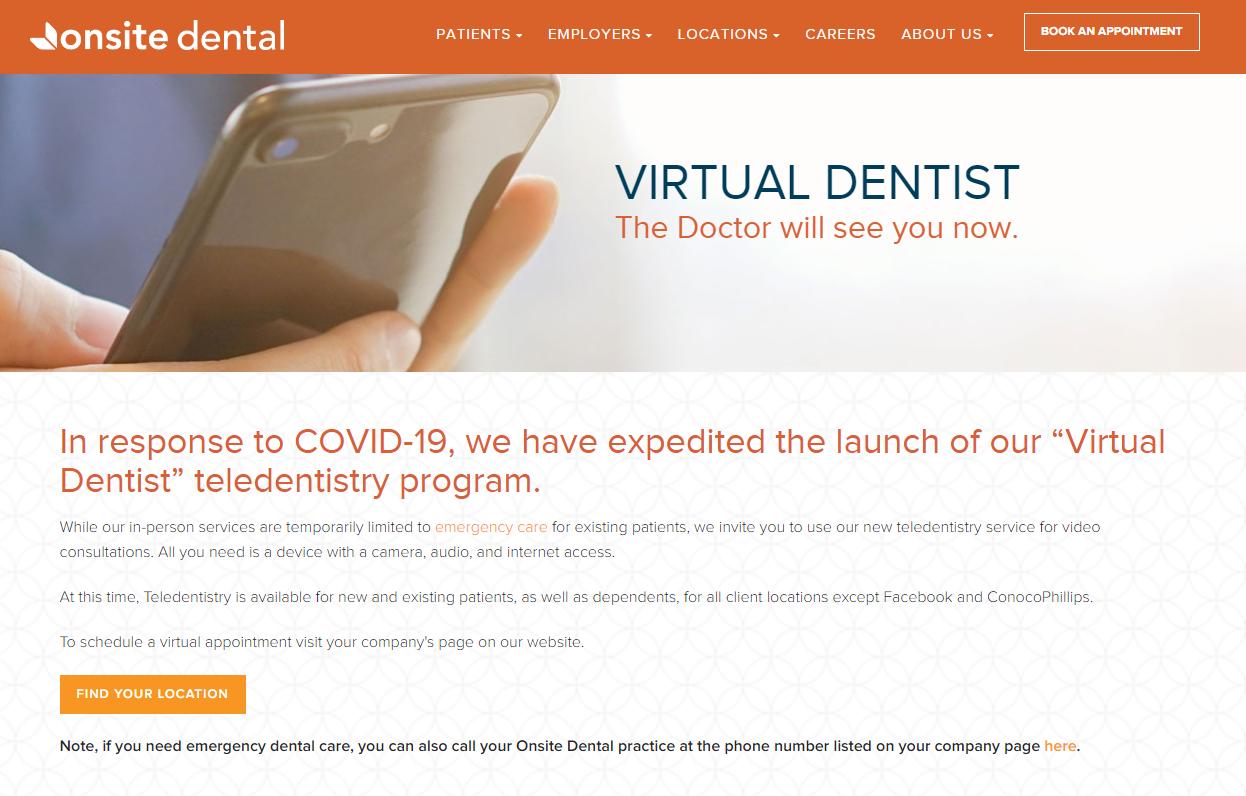 Onsite Dental Webpage Example