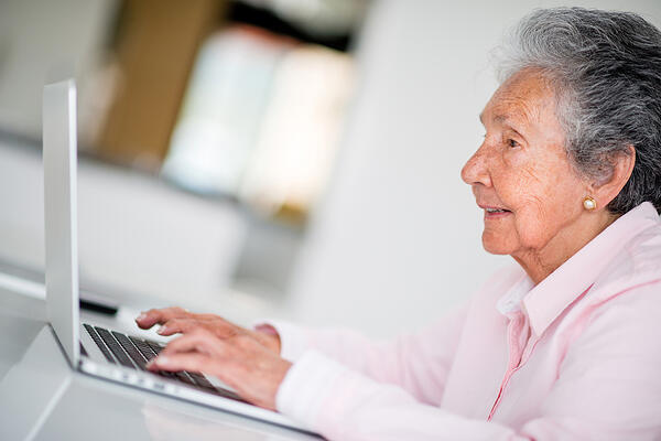 Patient filling out history and forms prior to appointment